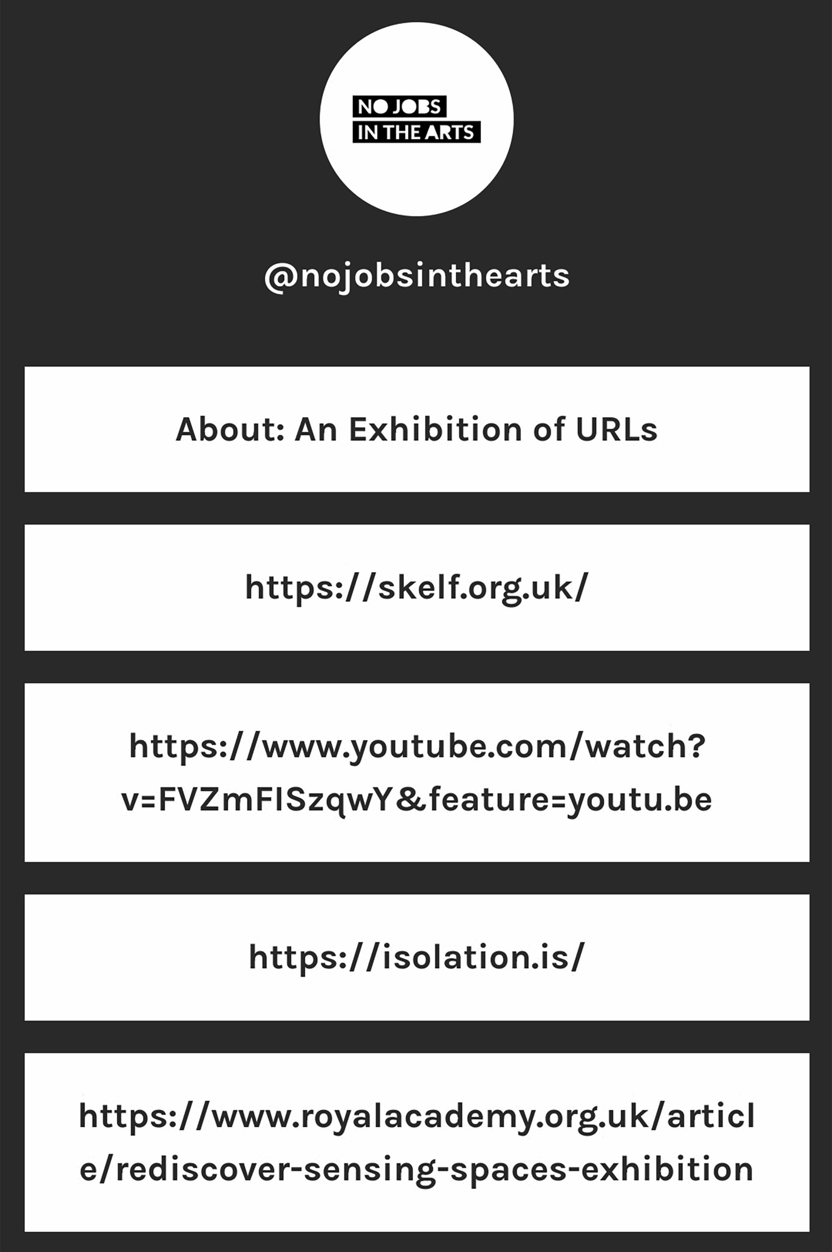 Screen shot of links to websites associated with 'An exhbition of URLs'